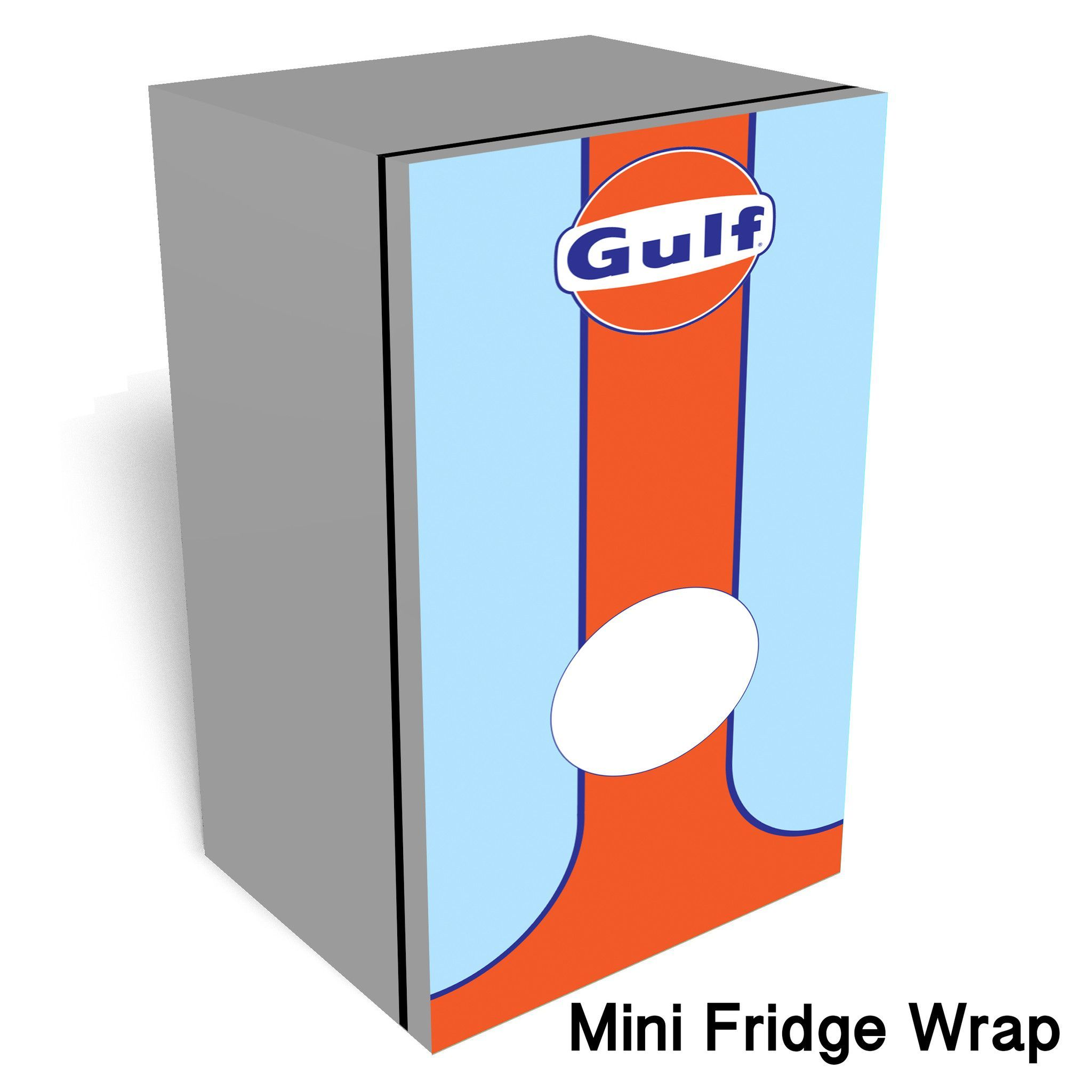 Gulf Racing Car Mini fridge wrap This is a premium vinyl cover for ...