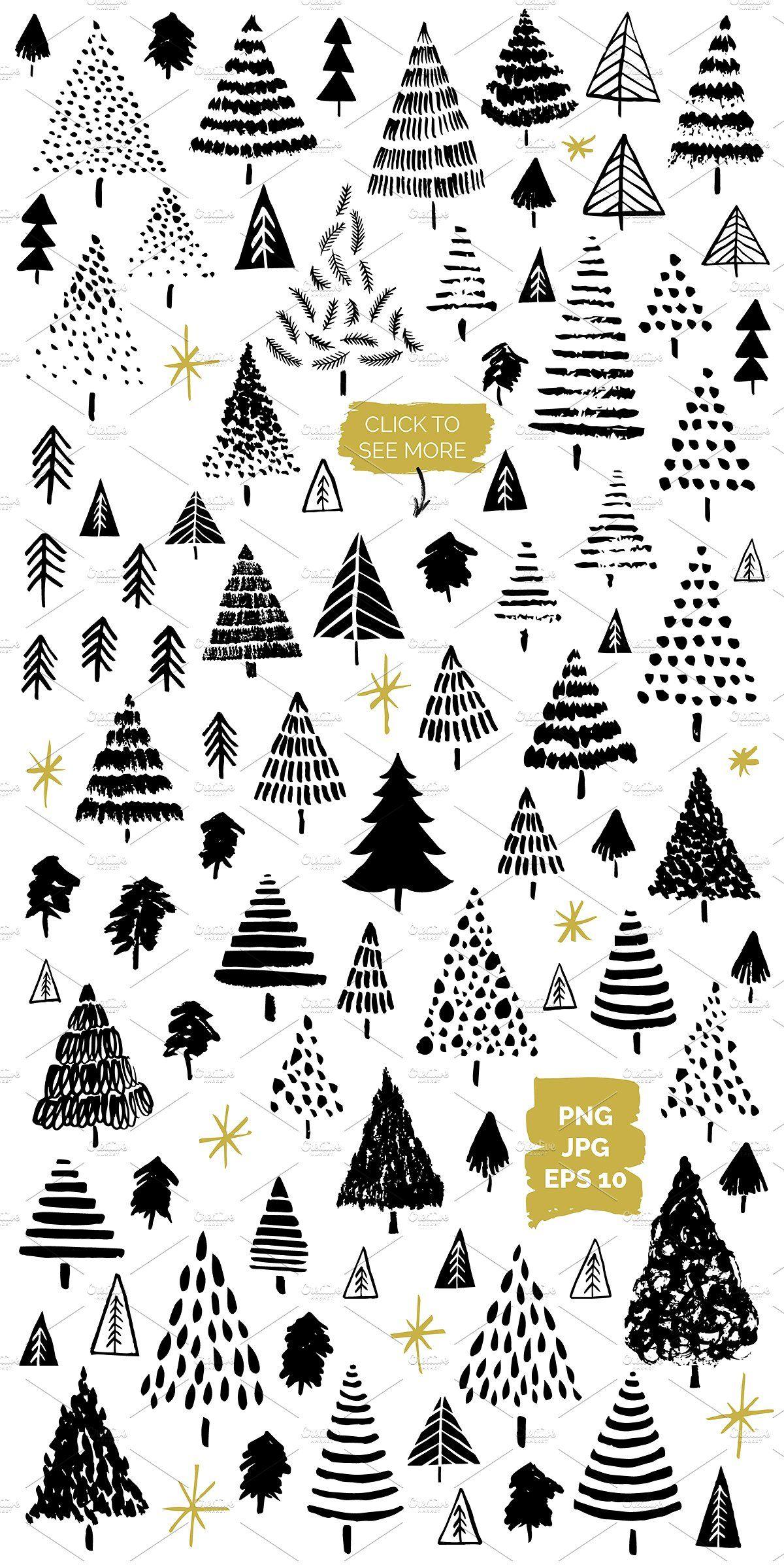 Scandi Christmas Tree Drawing.Christmas Tree Vector Graphics Hand Drawn Painted