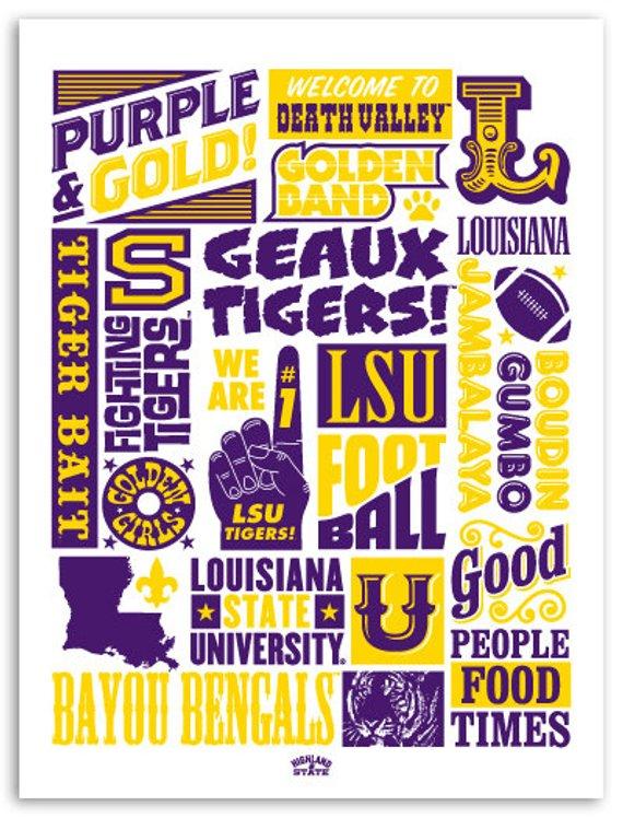"LSU Tiger ""Wordblock"" Poster Lsu tigers, Lsu"