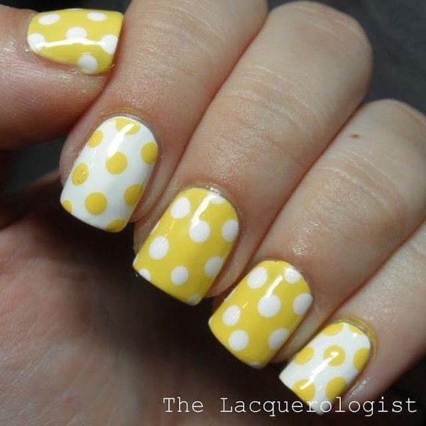 Yellow White Polka Dot Nail Art Liked On Polyvore Featuring Nails Yellow Nails Yellow Nails Design Polka Dot Nail Art