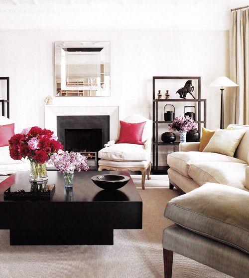 black, white and pink living room, Living Room Pinterest Elle