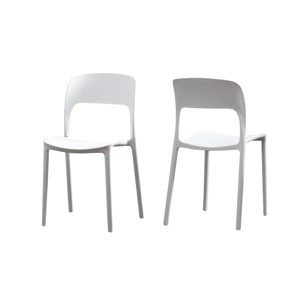 Noble House Kipford White Plastic Armless Chairs Set Of 2 53561 2 The Home Depot In 2020 Outdoor Plastic Chairs Dining Chairs Contemporary Dining Chairs