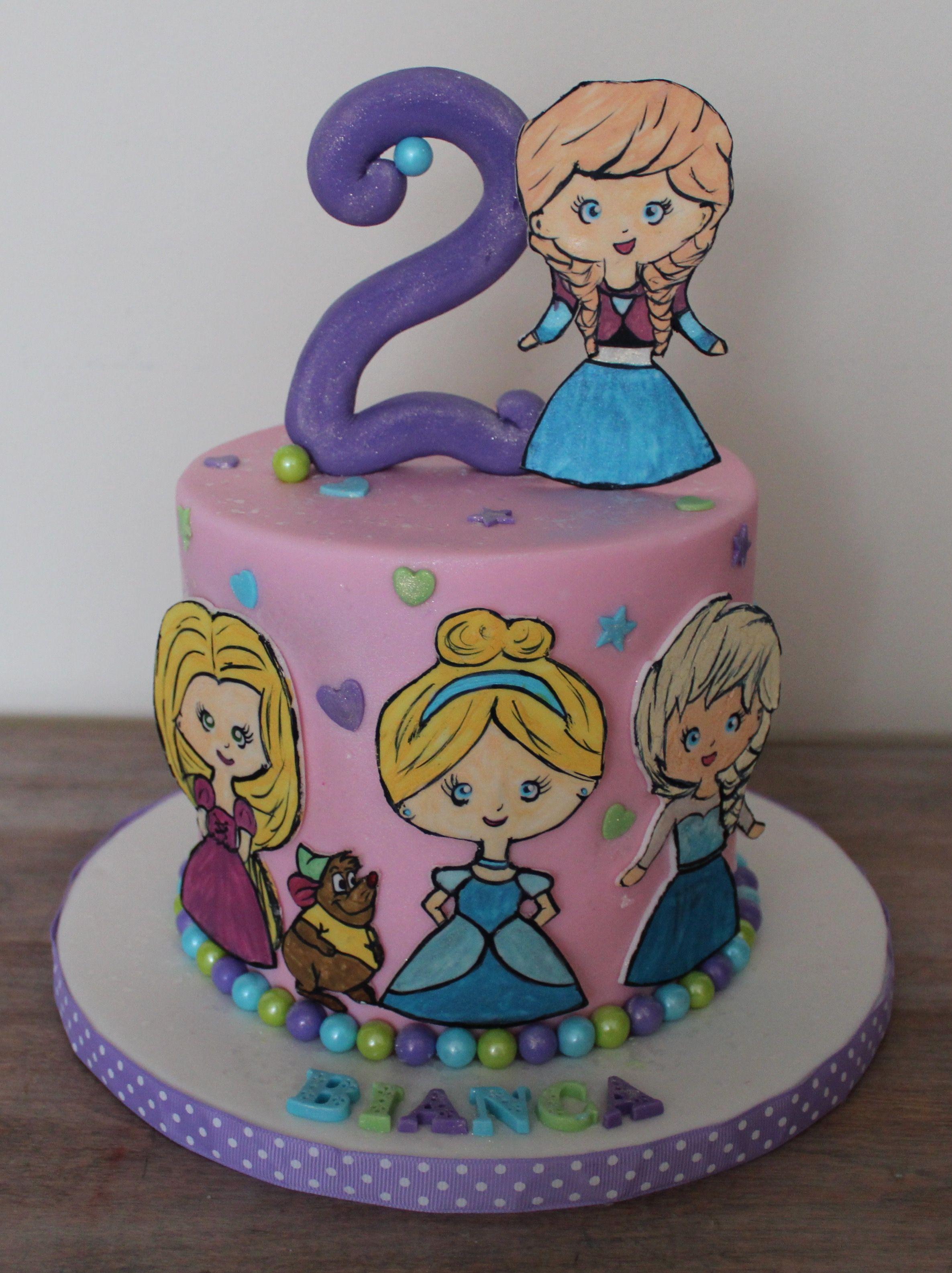 Princess Disney birthday cake cartoon fondant figurine anna elsa
