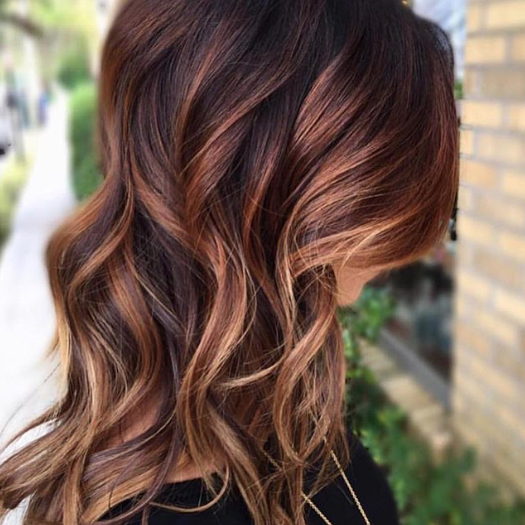 Long Wavy Pumpkin Spice Colored Hair Copper Hair Color For Auburn Ombre Brown Amber Balayage And Copper Hair Color Pumpkin Spice Hair Color Pumpkin Spice Hair