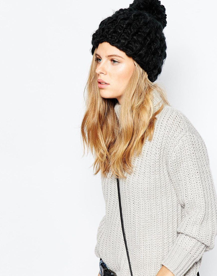 Pieces Chunky Knit Bobble Beanie Hat