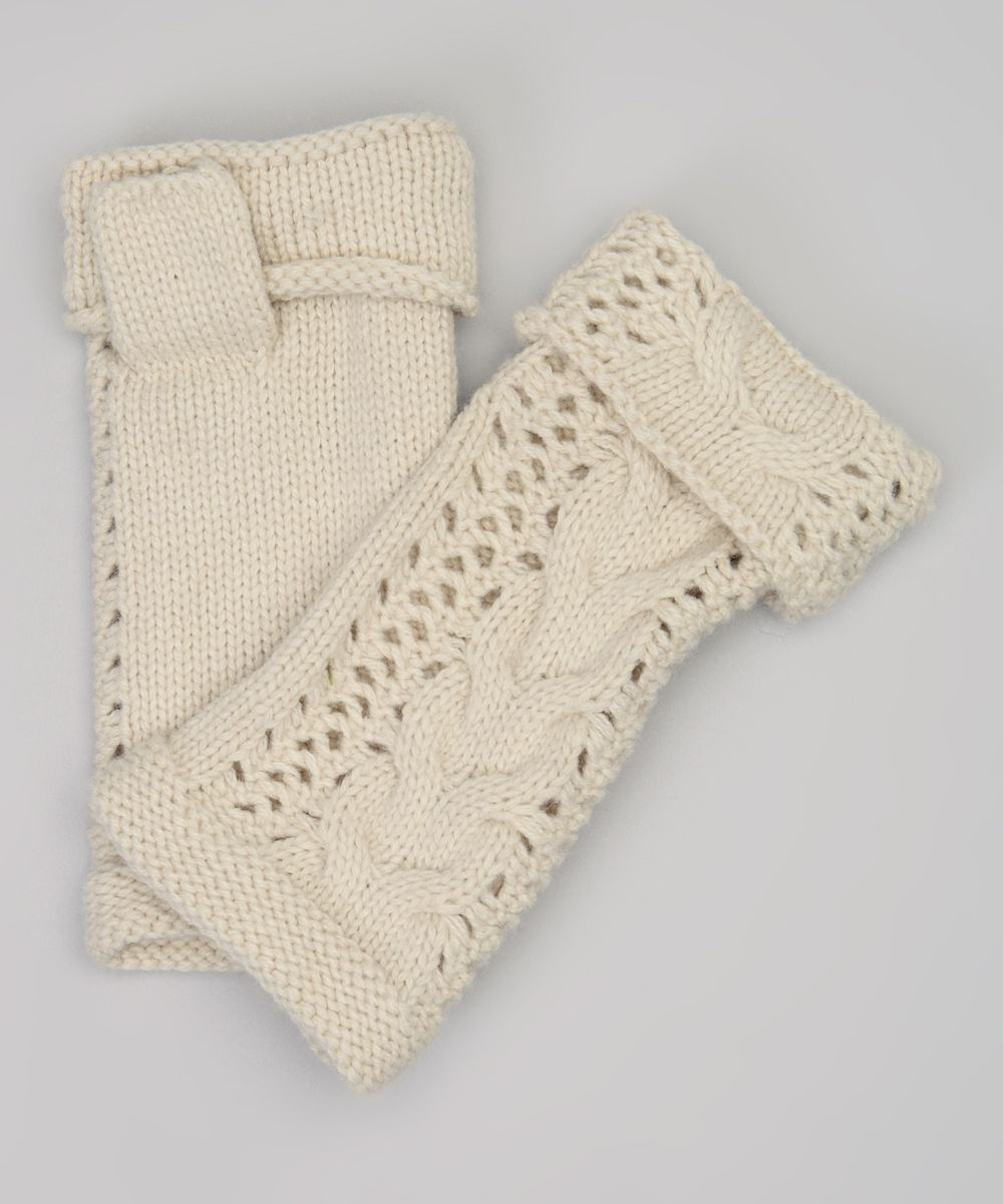 Cream Cable-Knit Fingerless Gloves | Guantes y calcetines crochet ...