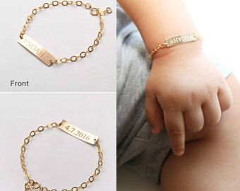 Custom Baby Name bracelet-Adjustable Baby Toddler Child ID Bracelet-Personalized Bar-Both Sides-14K Gold Filled-Rose-Silver-CG277B_1X.25