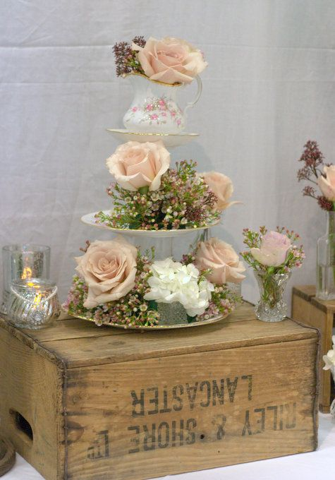Vintage crate wedding decor vintage cup & saucer wedding flowers ...