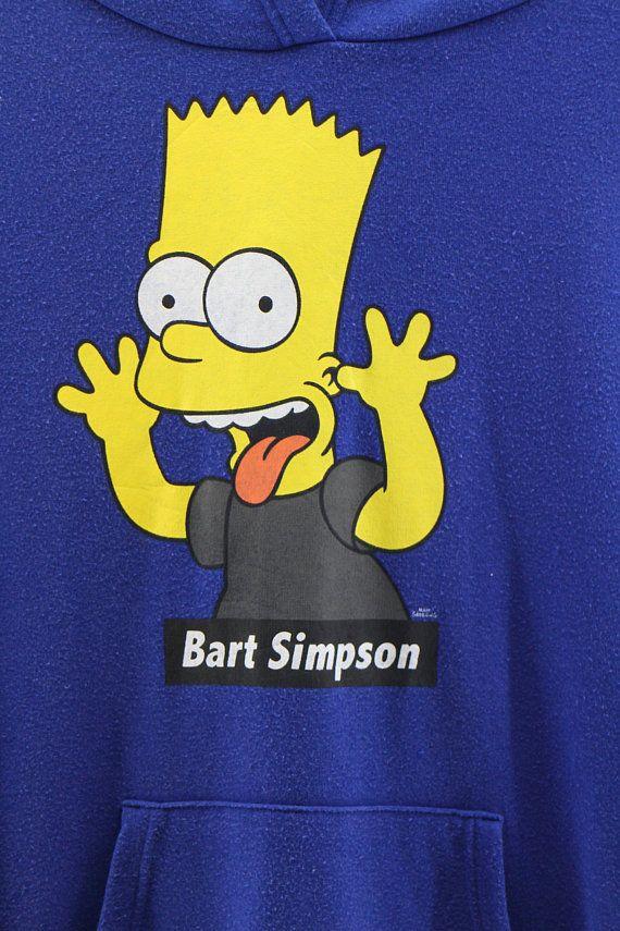 e78ca34f7 BART SIMPSON Hoodie Pullover Unisex Medium Vintage 90's The Simpson Family  Cartoon Hoodie Sweatshirt