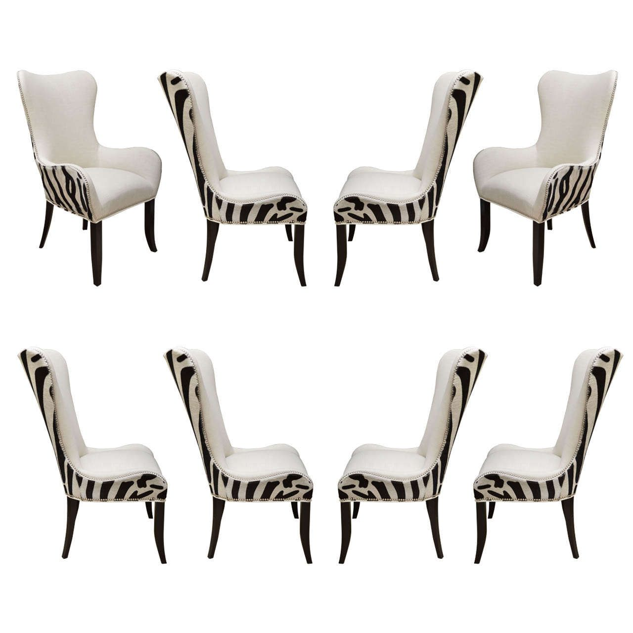 Set of Eight Zebra Stenciled Cowhide Dining Chairs | Dining chairs ...