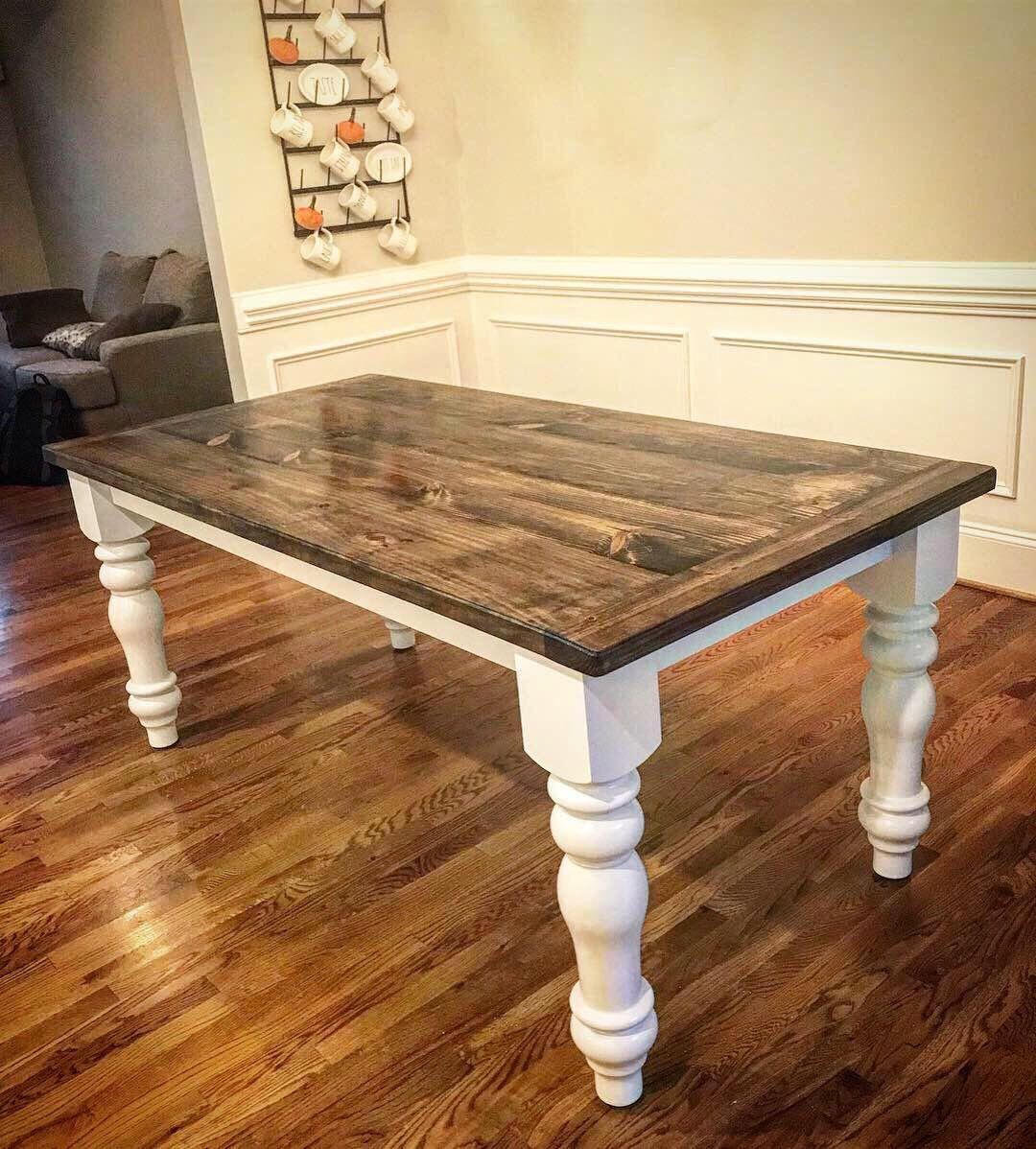 Turned Leg Farmhouse Table Built By Hillbuildit Creations