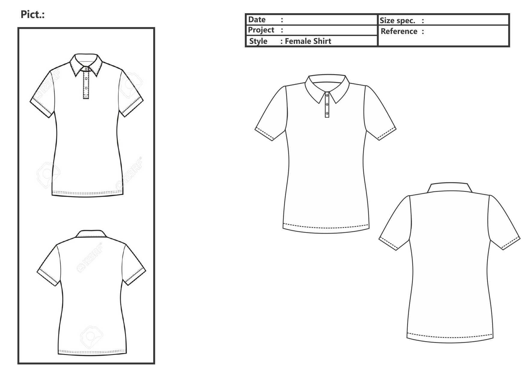 Female Polo Shirt Vector