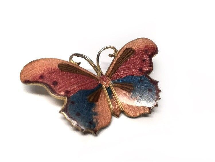 Details about Butterfly Brooch Poured Enamel Pink Orange