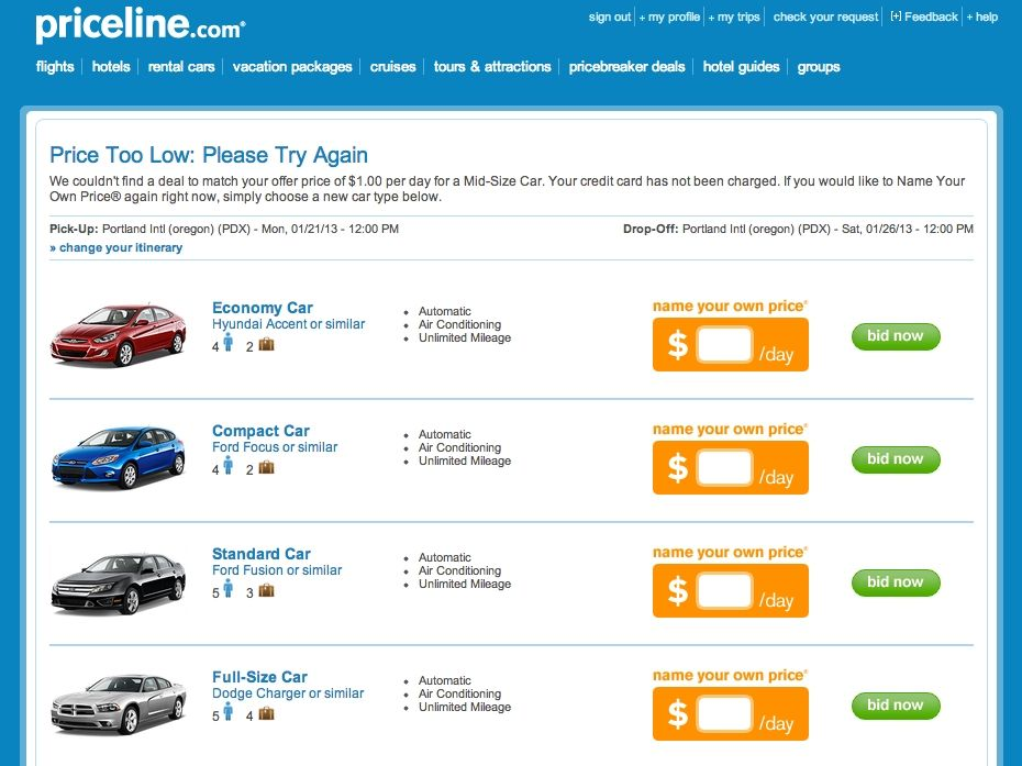 Bid On Rental Cars: How To Use Priceline To Save Money On A Rental Car