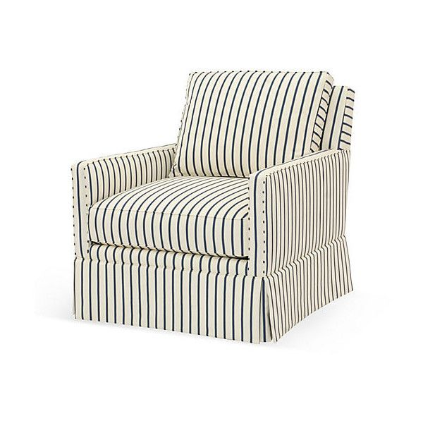 Good Avon Swivel Chair Cream/Blue Stripe Club Chairs ($1,299) ❤ Liked On Polyvore
