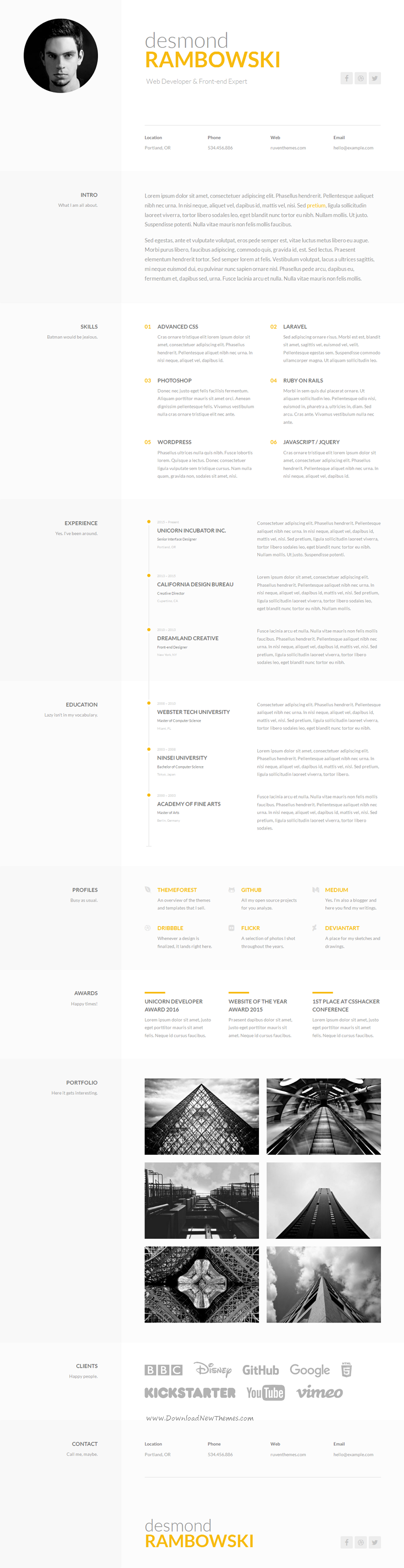 Desmond Is A Elegant And Minimal OnePage Cv  Resume Template