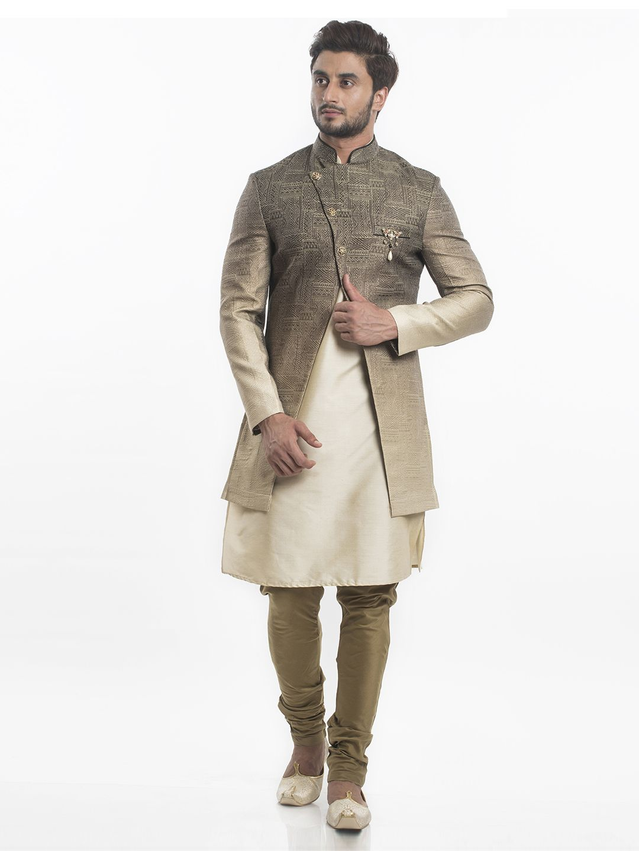Shop wedding wear silk indo western in beige color online from
