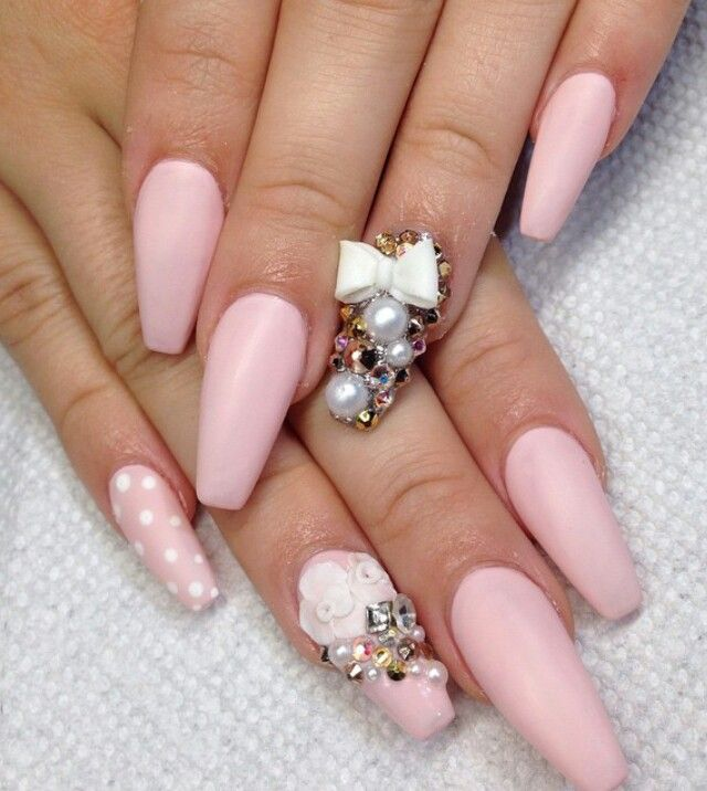 uñas rosa pastel con moño | claws | Pinterest | Coffin nails, Nail ...