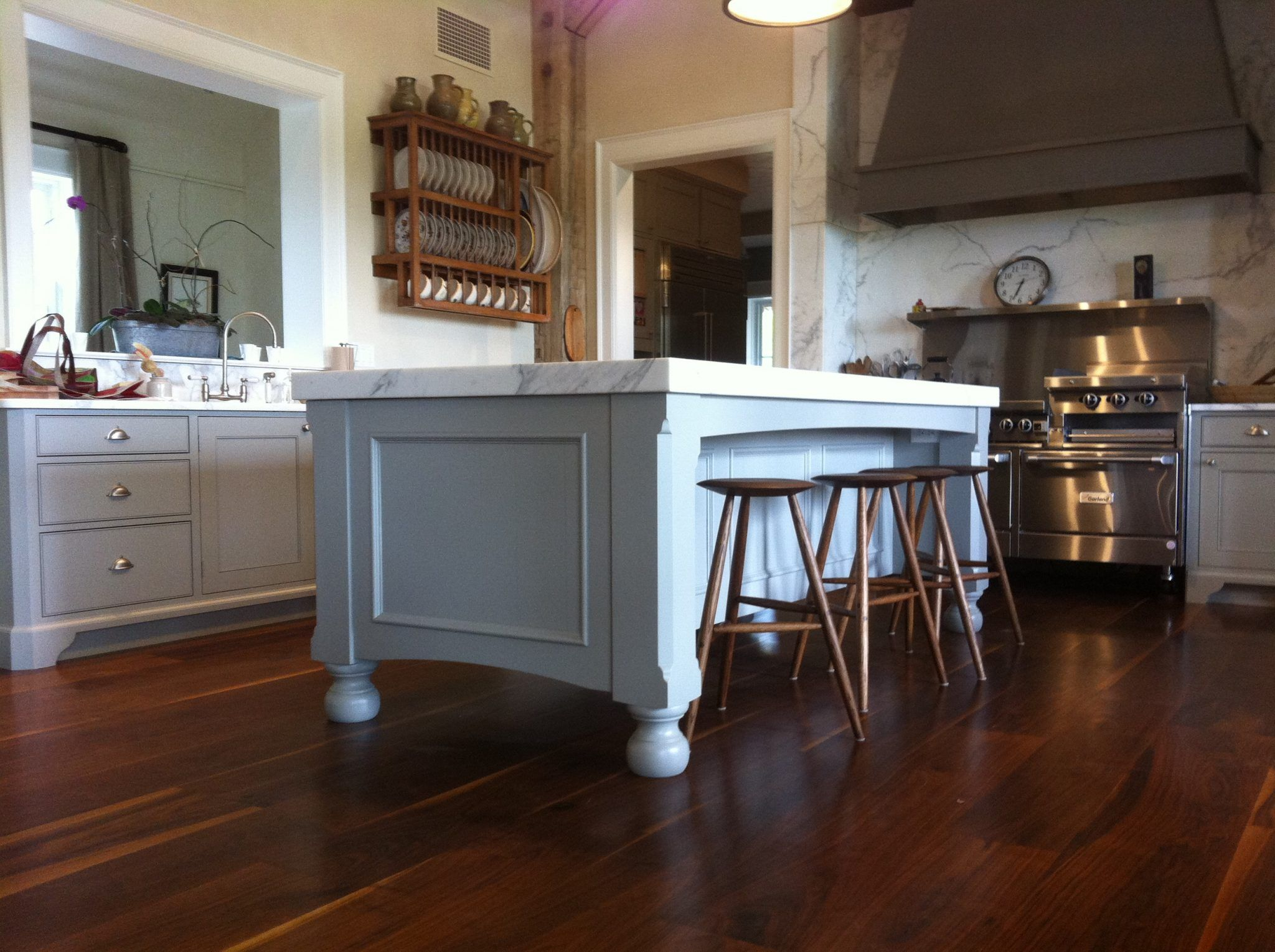Natural wooden Kitchen island on wheels with drop leaf and ...
