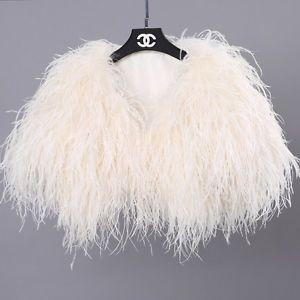 100% Real Ostrich Feather Fur Handmade Shawl Shrug Jacket Vest Wedding  bolero !  edade2117870