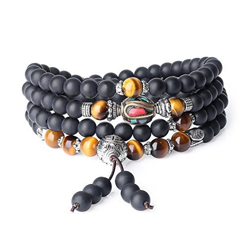 sailimue 4 Pcs Bracelet en Perle Homme Femme Pierre Oeil de Tigre Bracelet Noir Bouddha Bouddhiste 10mm