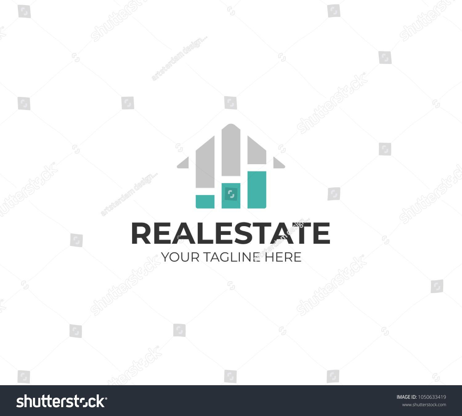 Housing Market Logo Template Real Estate Stock Market Vector Design Growth Chart And Home Logotype Ad Template Real Estate Vector Design Logo Templates Templates