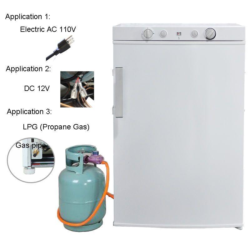 3 5 Cu Ft Propane Gas 12v 110v 3 Way Refrigerator Freezer Off Grid Rv Cabin Rv Refrigerator Refrigerator Freezer Camper Boat