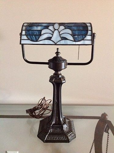 Tiffany Style Stained Glass Look Bankers Lamp Piano Lamp