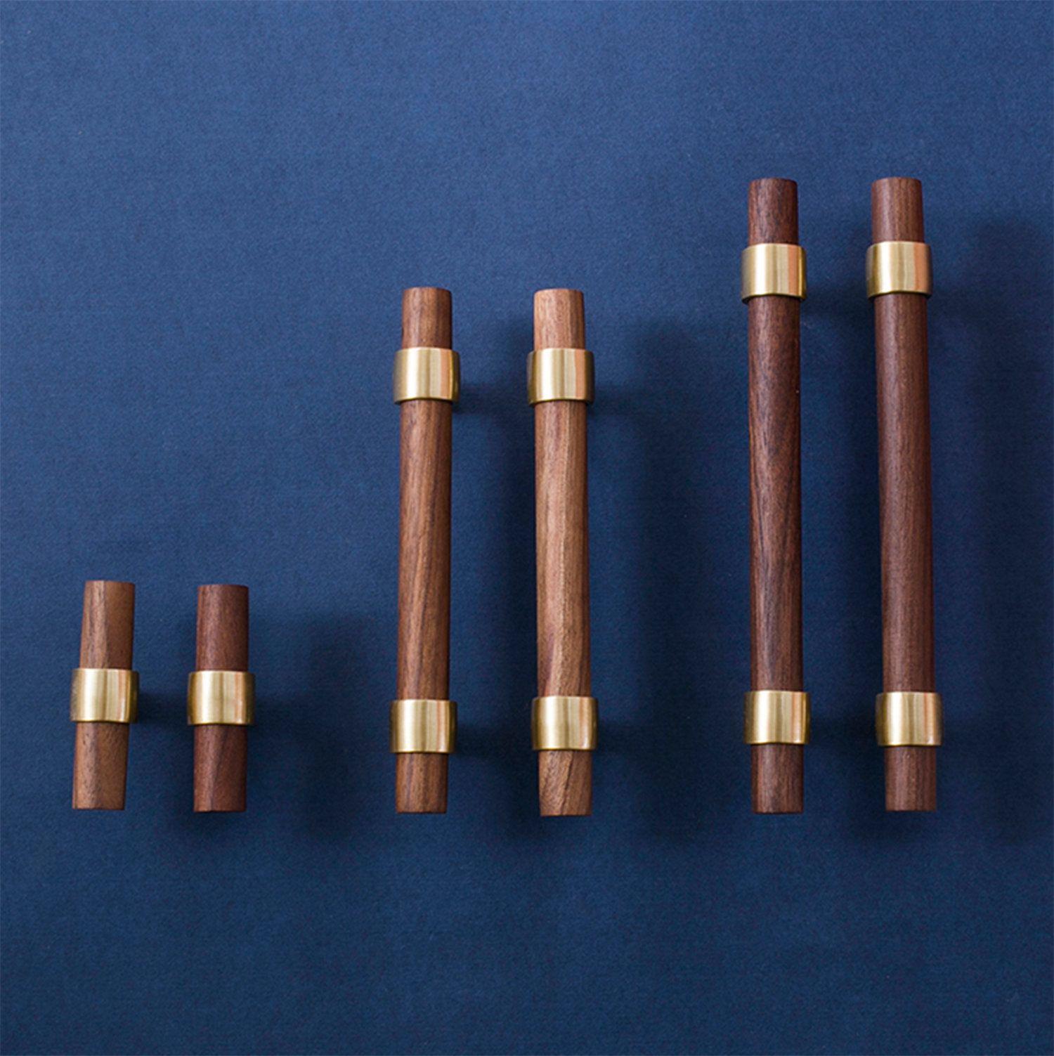 """Photo of 3″ 3.75"""" 5""""6.3″ 7.56″ 8.8″  Brass Wood Pulls Cupboard Handles Walnut Beech Cabinet Door Handle Drawer Pulls Dresser Knobs Adjustable"""