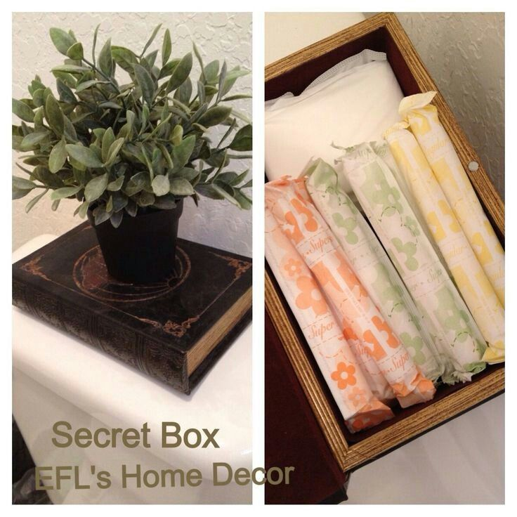 How To Descretly Store Your Maxi Pads Tampons Tampon Storage Bathroom Containers Tampons