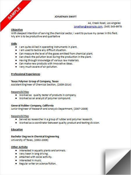 Chemical Engineer Resume Sample | Resume Examples | Pinterest
