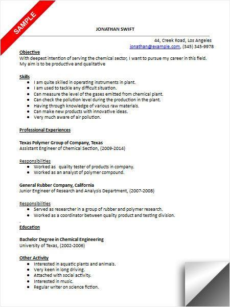 Chemical Engineer Resume Sample Engineering Resume Resume Examples Sample Resume