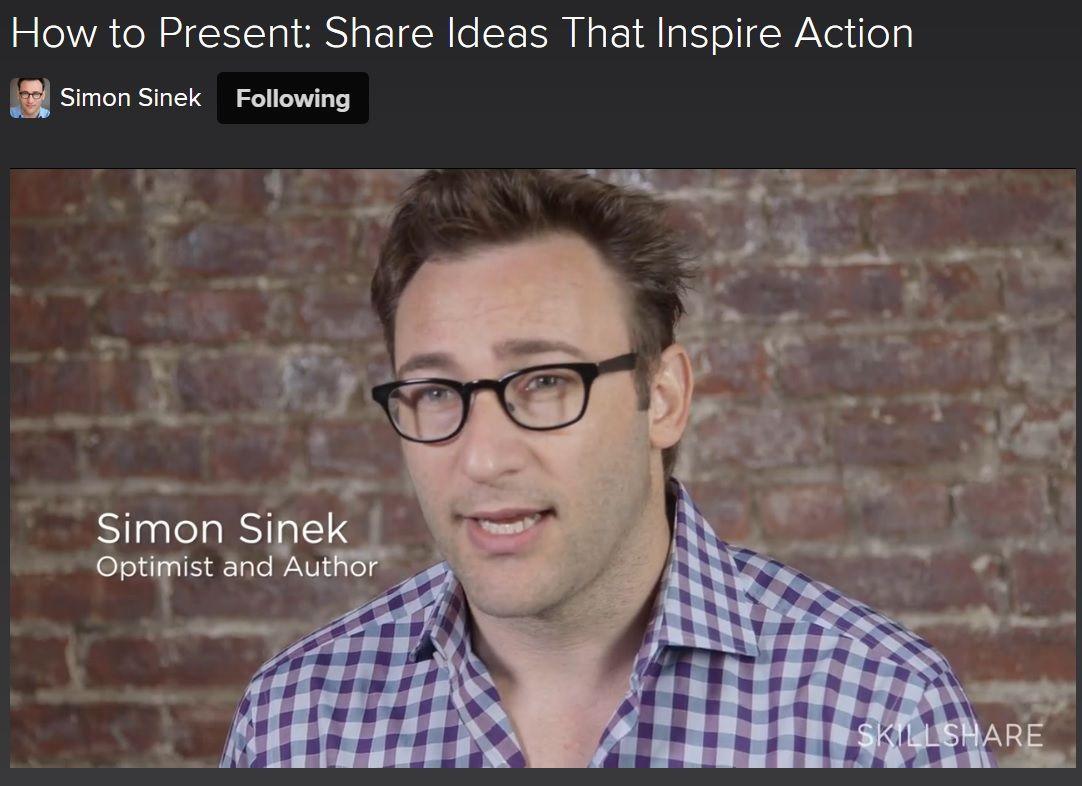 Følg linket, åbn Skilshare.com med din Facebookprofil og få adgang til 6 meget fine videoer med Simon Sinek, hvor han selv fortæller om sine EGNE erfaringer med at præsentere en inspirerende idé fx. som TED-talk (begge Simon Sineks TED-talks er har fået millioner af visninger). Du får værdifuld viden i alle 6 videoer :)