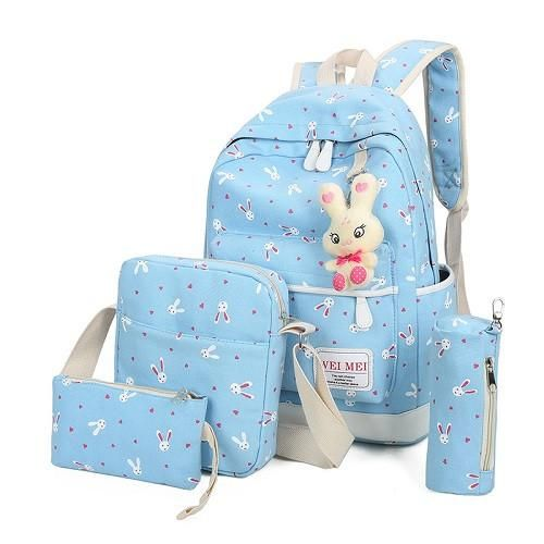 4Pcs Sets 2017 Women Backpacks Cartoon Rabbit Printing School Backpack  Canvas Schoolbags for Teenage Girls Students Bag Children a43d65cf62