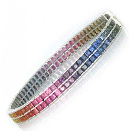 Multicolor Rainbow Sapphire Double Row Tennis by RainbowSapphire, $4203.00