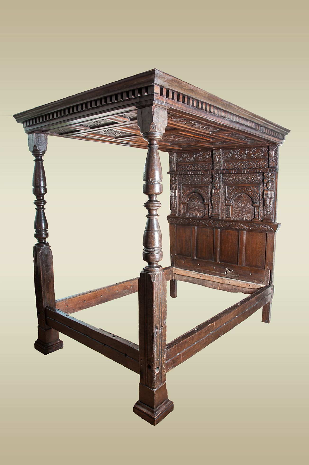 Elizabethan joined oak tester bed West Country circa 1590