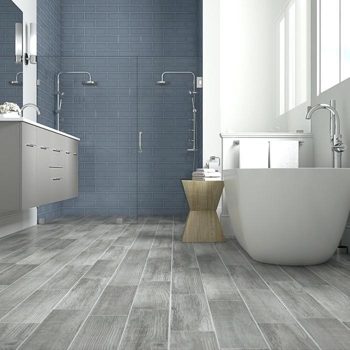Wood Bathroom Tiles French Blue Shower Tile With Gray Wood Look Floor Tiles Wood Like Bathr Wood Tile Bathroom Wood Look Tile Bathroom Wood Tile Bathroom Floor
