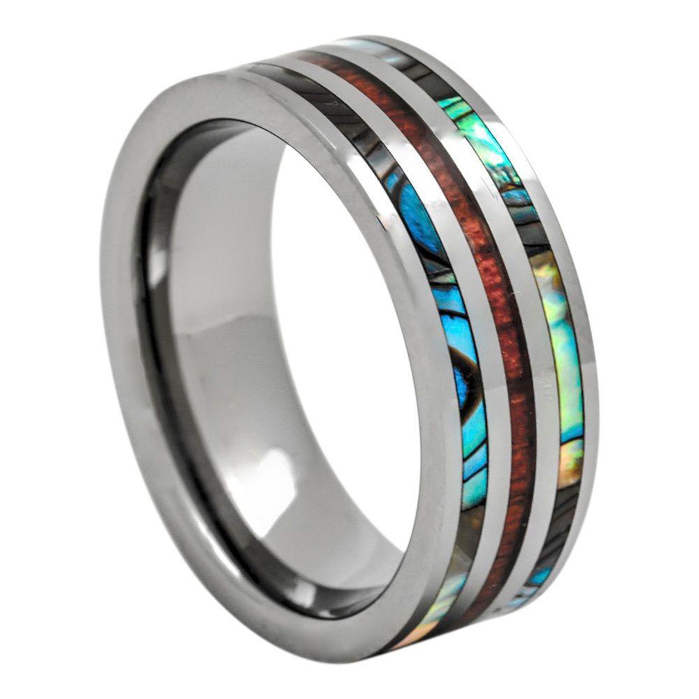 Mens womenus tungsten wedding ring hawaiian koa wood and abalone