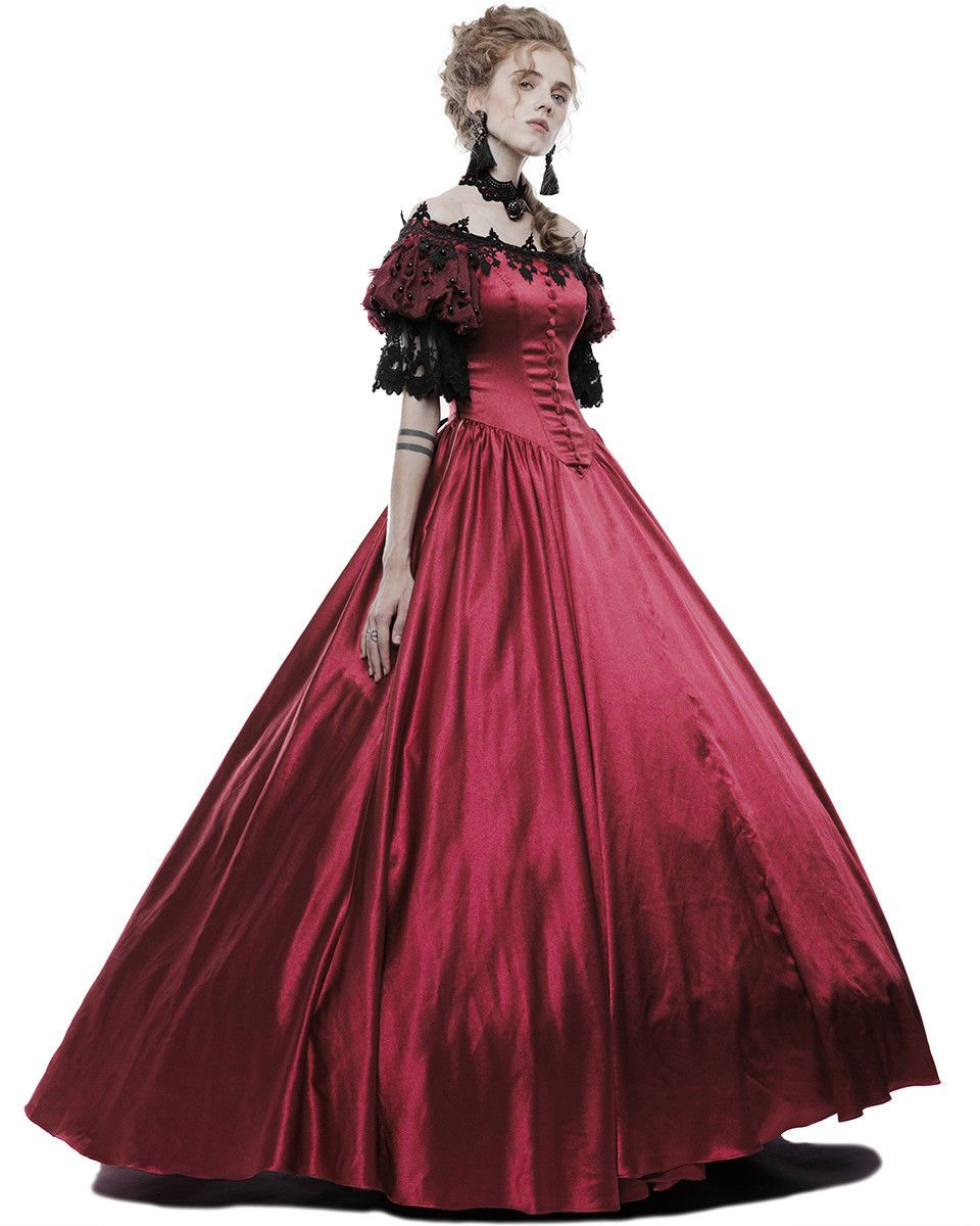 Punk Rave Gothic Wedding Prom Dress Long Red Steampunk Victorian Prom Ballgown Ebay Gothic Dress Ball Gowns Gothic Gowns [ 1200 x 960 Pixel ]
