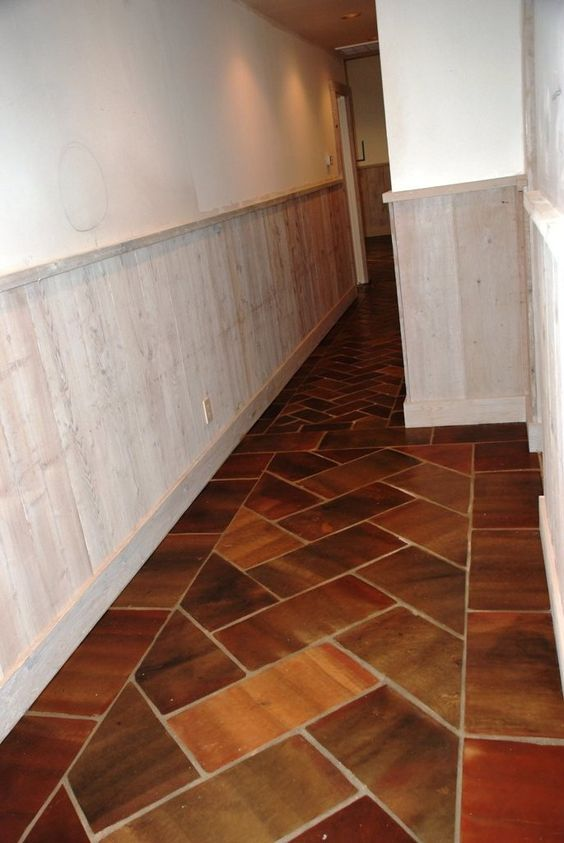 Herringbone Tile Floor Kitchen