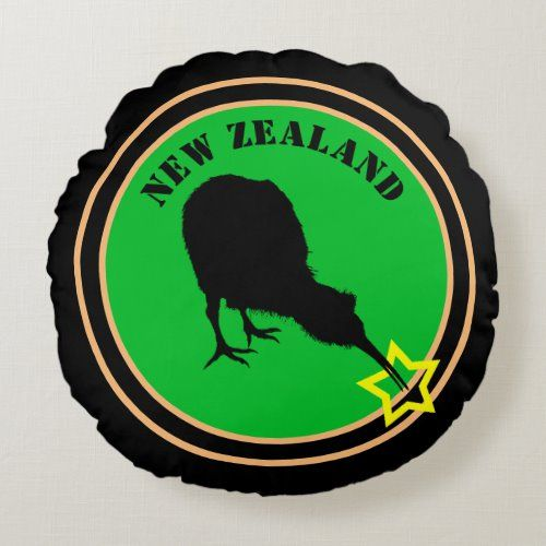 New Zealand & Kiwi Bird - Royal Kiwi design stars Round Pillow