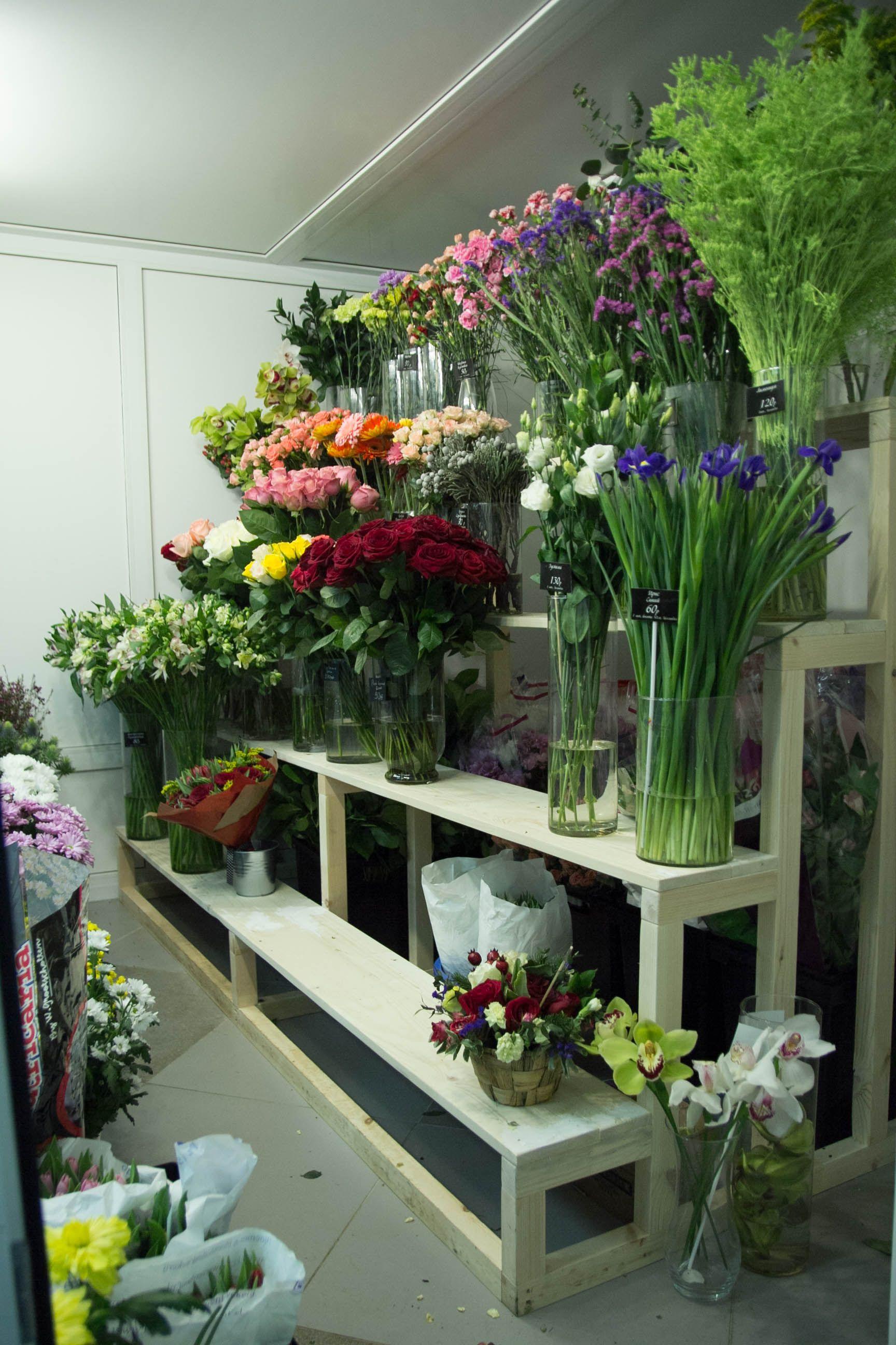 Полки для размещения цветов | Витрина цветочного магазина