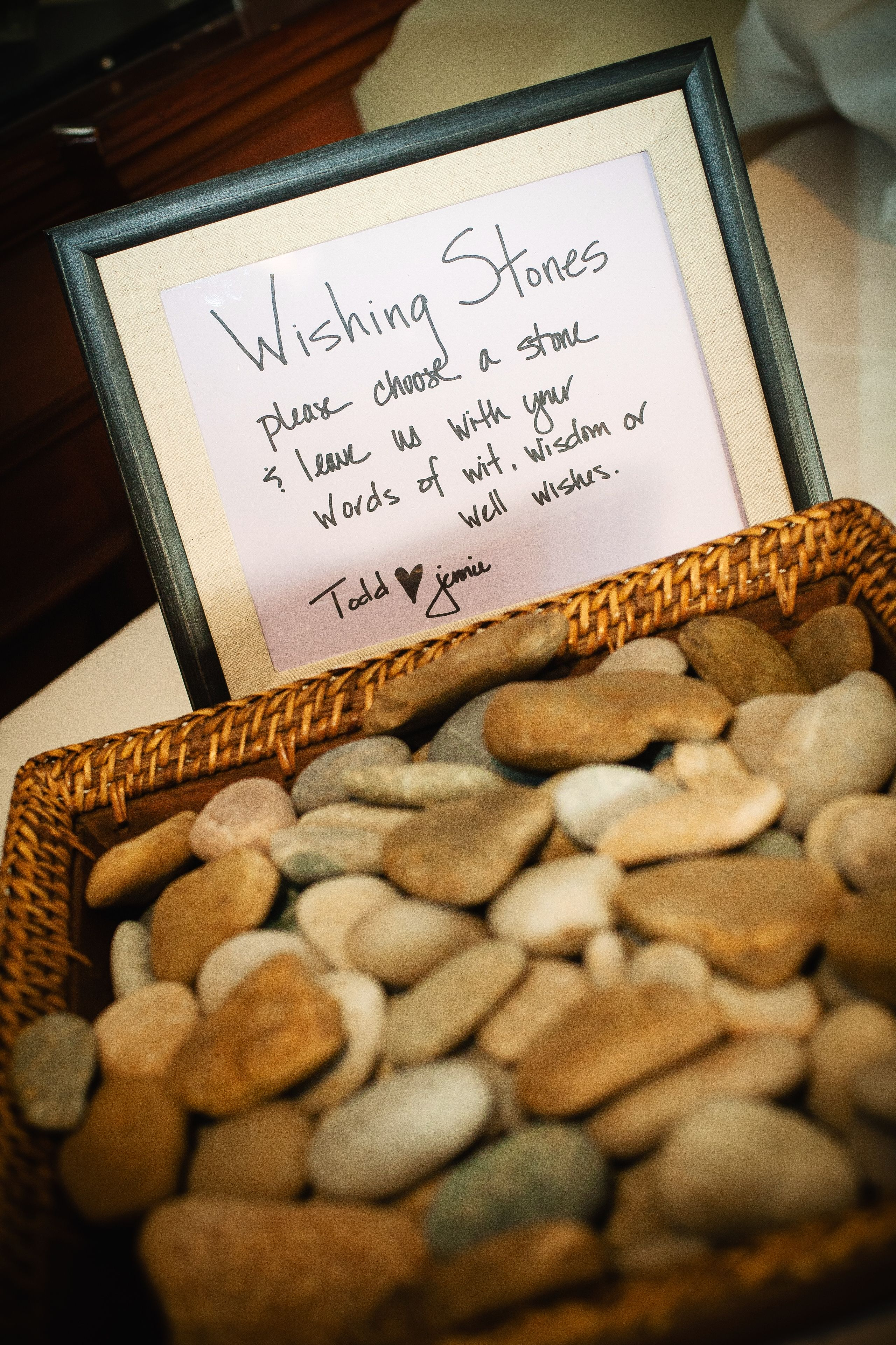 A Creative Twist For A Guest Book Wishing Stones For Guests To Sign A Scottish Irish Wedding