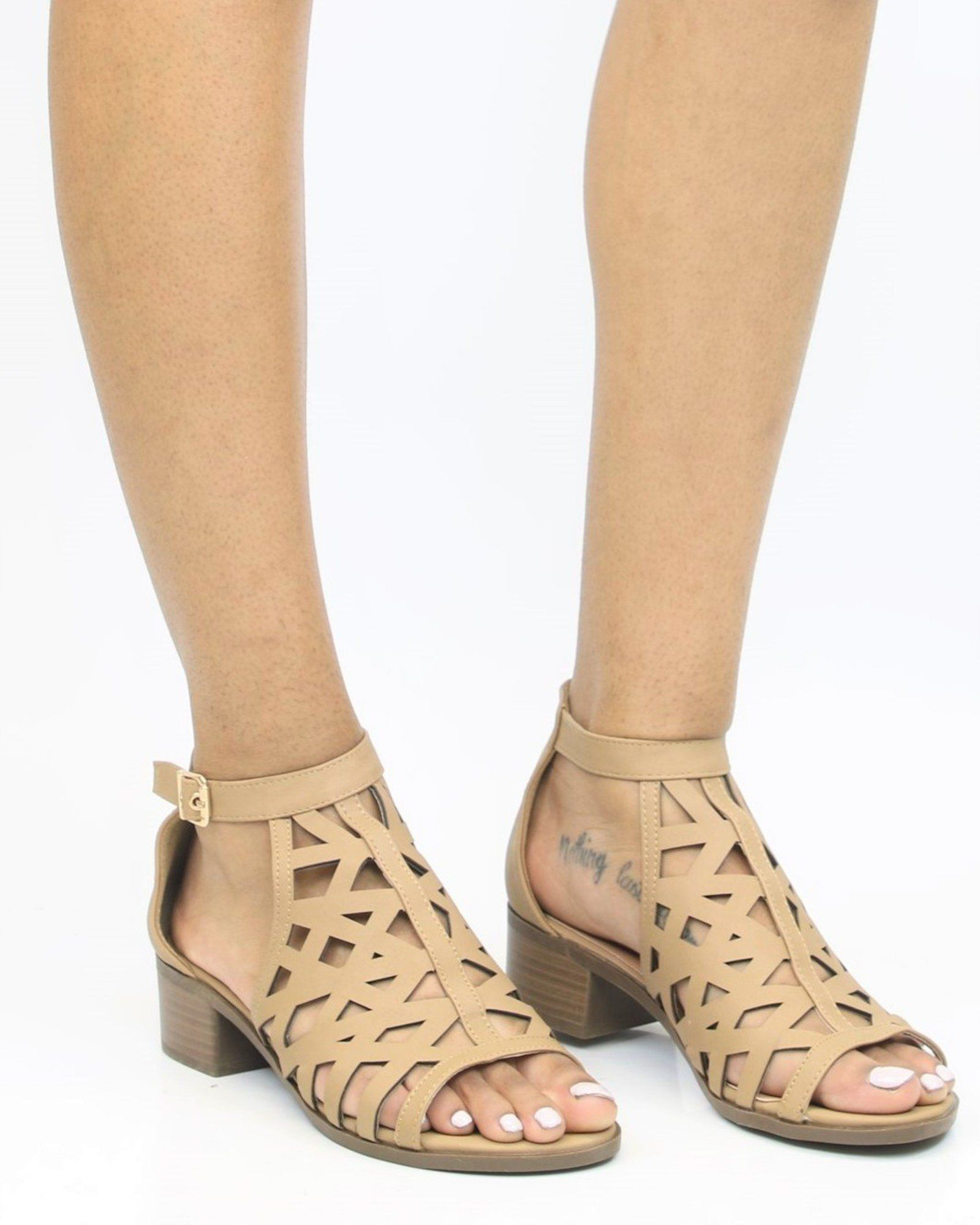 26f9513351c1 Starlight Perforated Stacked Heel Sandals - Tan
