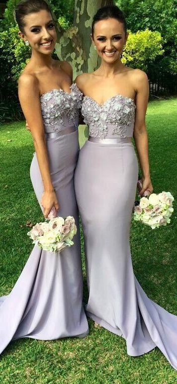f89710896695 Elegant Chiffon Long Mermaid Bridesmaid Dress Light Grey Sweetheart  Appliques Beaded Evening Dresses Custom Made Prom Gowns