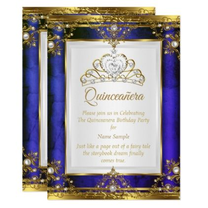 Blue Gold White Pearl Princess Quinceanera Invitation Zazzle Com