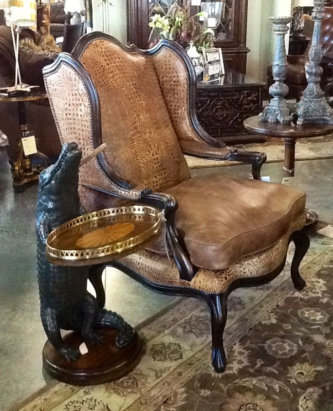 Astounding Seville Home Leather Wing Chair And Alligator Accent Table Andrewgaddart Wooden Chair Designs For Living Room Andrewgaddartcom