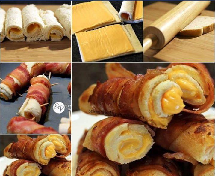 Rollitos de queso y bacon