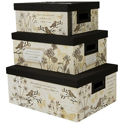 Decorative Boxes Storage Nested Steamer Box  Storage Box With Burlap Lid Set Of 3 Tan