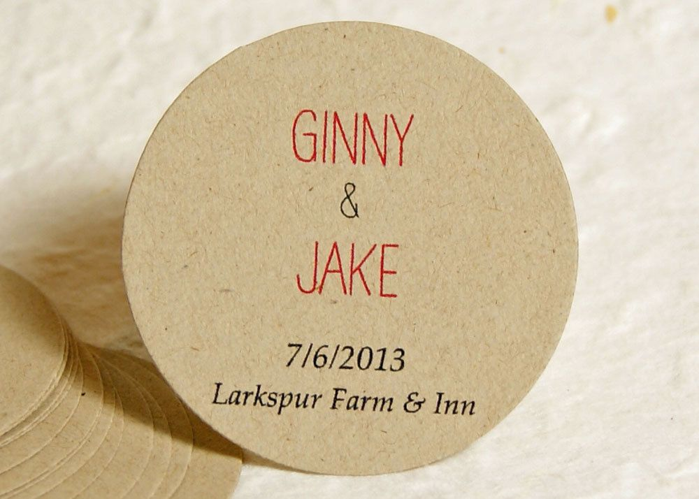 Personalized Round Wedding Favor Labels - Kraft Paper Favor Stickers - Custom Labels - Gift Labels. $11.25, via Etsy.